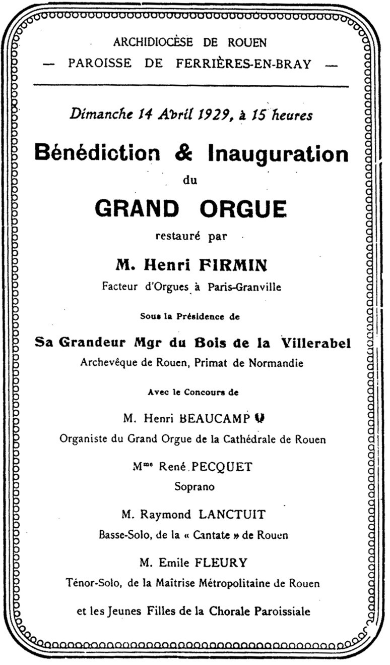 Grand Orgue de la Paroisse de Ferrières-en-Bray